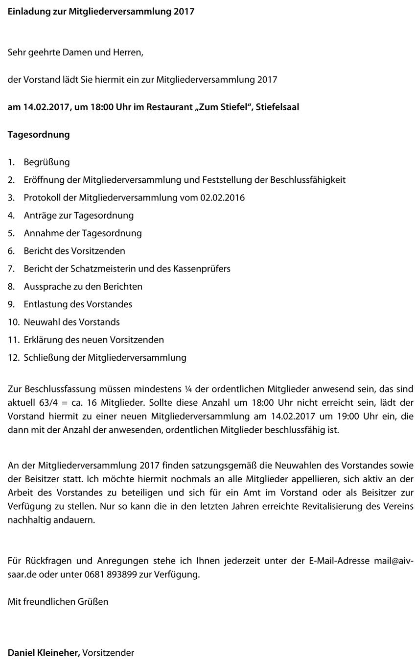 Einladung Mitgliederversammlung 2017