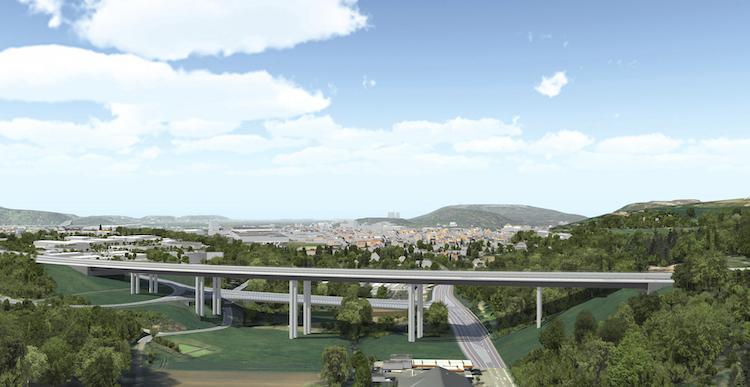 Siegerentwurf Wettbewerb Neubau Fechinger Talbrücke, internationale Planungsgemeinschaft Schüßler-Plan Ingenieurgesellschaft mbH (Frankfurt am Main)/ Architekturbüro: DKFS Architects LTD (London)